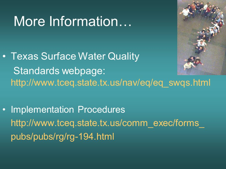 More Information… Texas Surface Water Quality Standards webpage: http://www.tceq.state.tx.us/nav/eq/eq_swqs.html Implementation Procedures http://www.tceq.state.tx.us/comm_exec/forms_ pubs/pubs/rg/rg-194.html