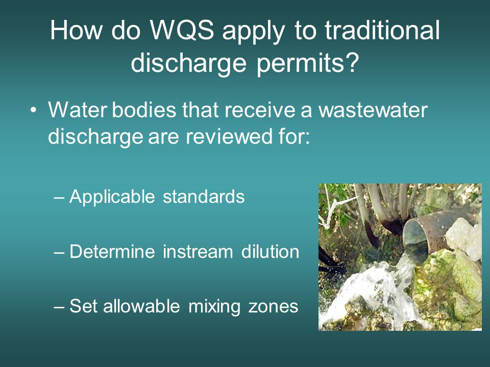 How do WQS apply to traditional discharge permits.