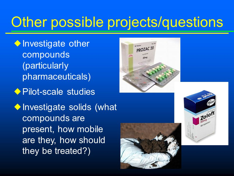 Other possible projects/questions  Investigate other compounds (particularly pharmaceuticals)  Pilot-scale studies  Investigate solids (what compounds are present, how mobile are they, how should they be treated )