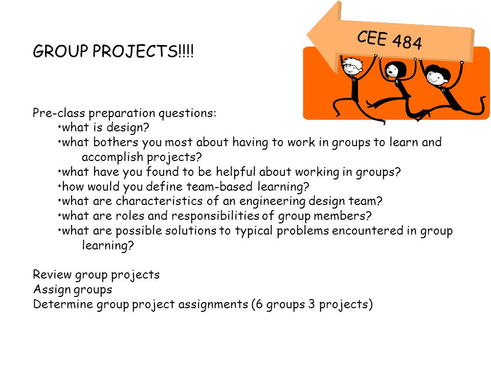 GROUP PROJECTS!!!! Pre-class preparation questions: what is design? what bothers you most about having to work in groups to learn and accomplish proje