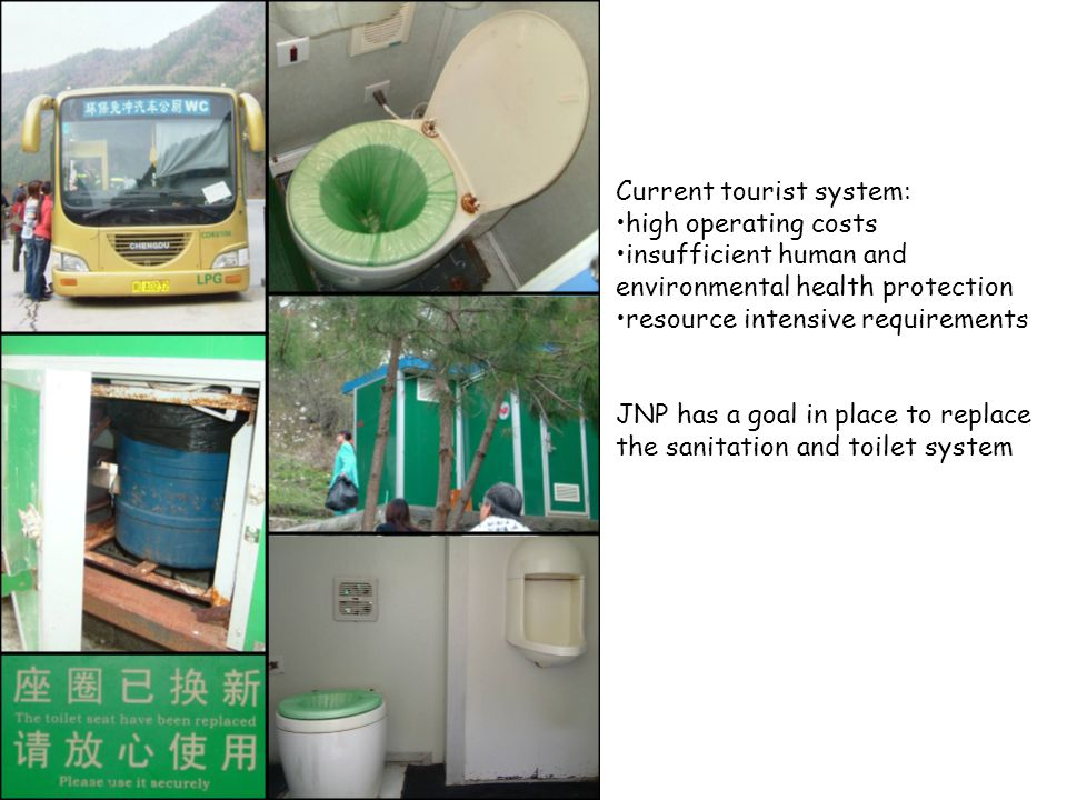 Current tourist system: high operating costs insufficient human and environmental health protection resource intensive requirements JNP has a goal in place to replace the sanitation and toilet system