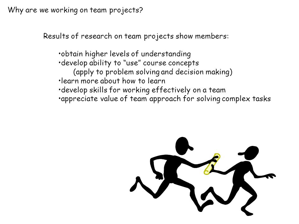 """Results of research on team projects show members: obtain higher levels of understanding develop ability to """"use"""" course concepts (apply to problem so"""