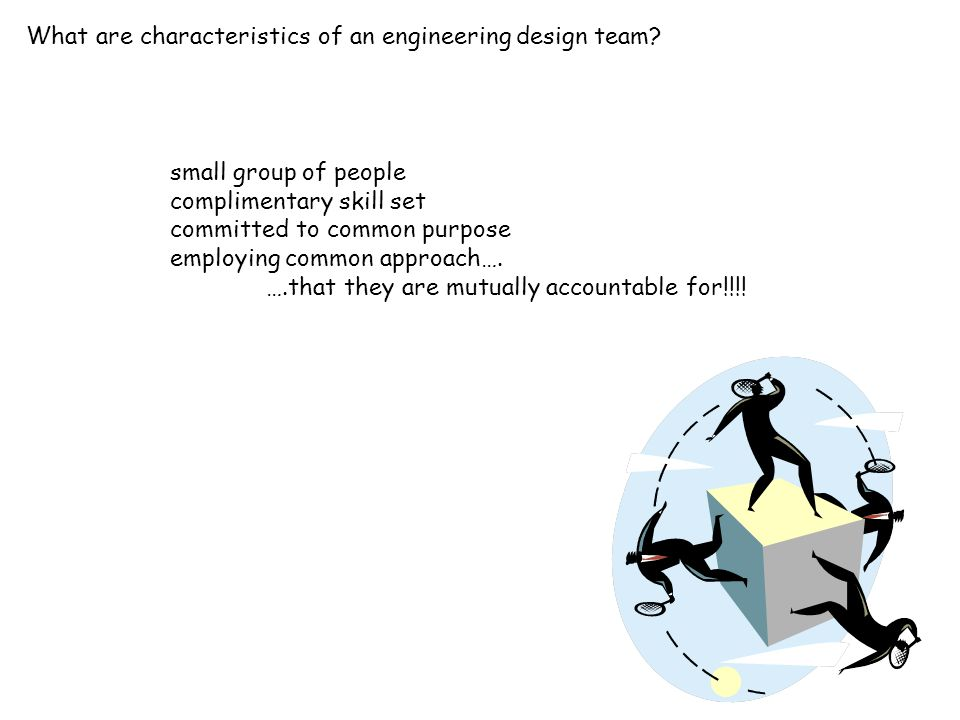 What are characteristics of an engineering design team? small group of people complimentary skill set committed to common purpose employing common app