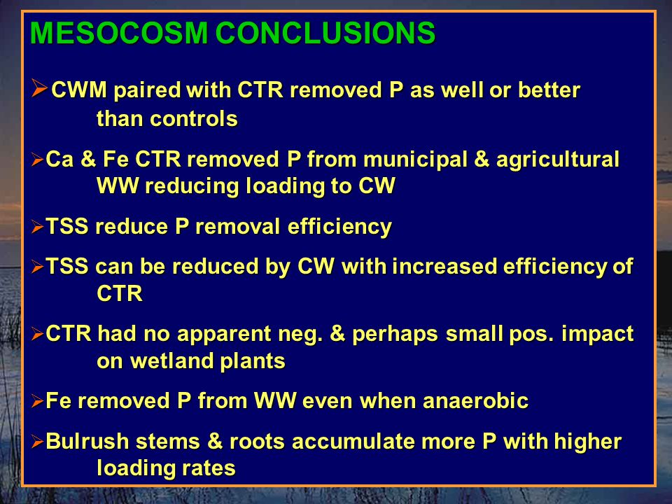MESOCOSM CONCLUSIONS  CWM paired with CTR removed P as well or better than controls  Ca & Fe CTR removed P from municipal & agricultural WW reducing