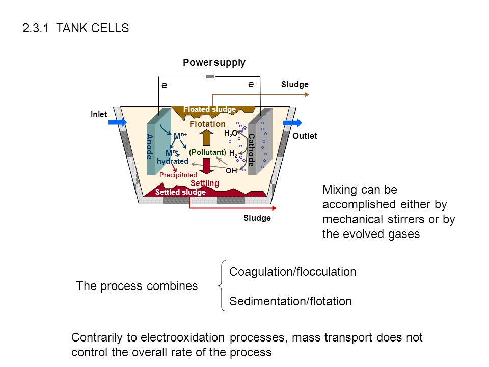 The process combines Coagulation/flocculation Sedimentation/flotation 2.3.1 TANK CELLS Mixing can be accomplished either by mechanical stirrers or by