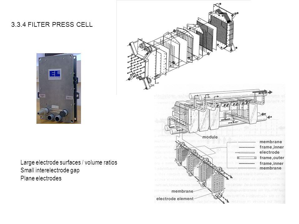 3.3.4 FILTER PRESS CELL Large electrode surfaces / volume ratios Small interelectrode gap Plane electrodes