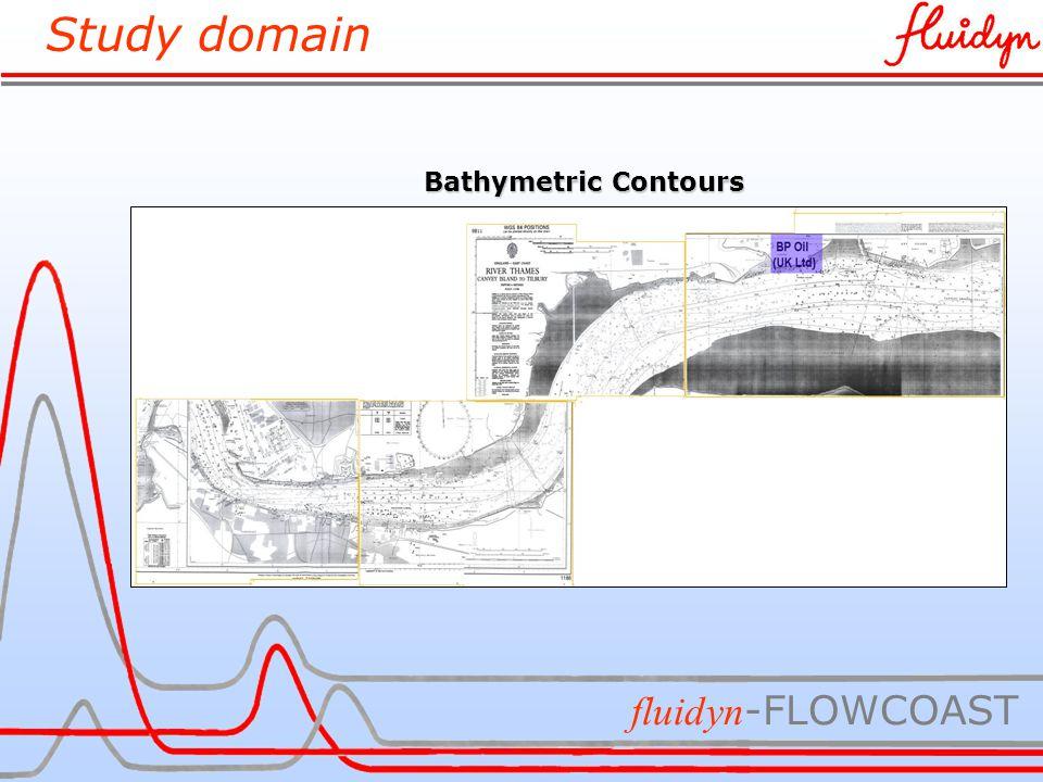 Study domain fluidyn -FLOWCOAST Bathymetric Contours