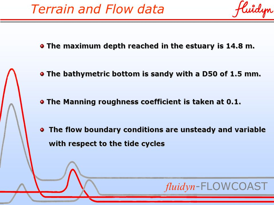 Terrain and Flow data fluidyn -FLOWCOAST The maximum depth reached in the estuary is 14.8 m.