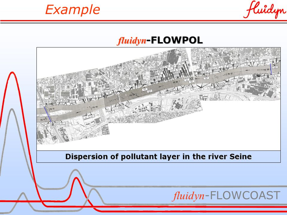 Example fluidyn -FLOWCOAST fluidyn -FLOWPOL Dispersion of pollutant layer in the river Seine