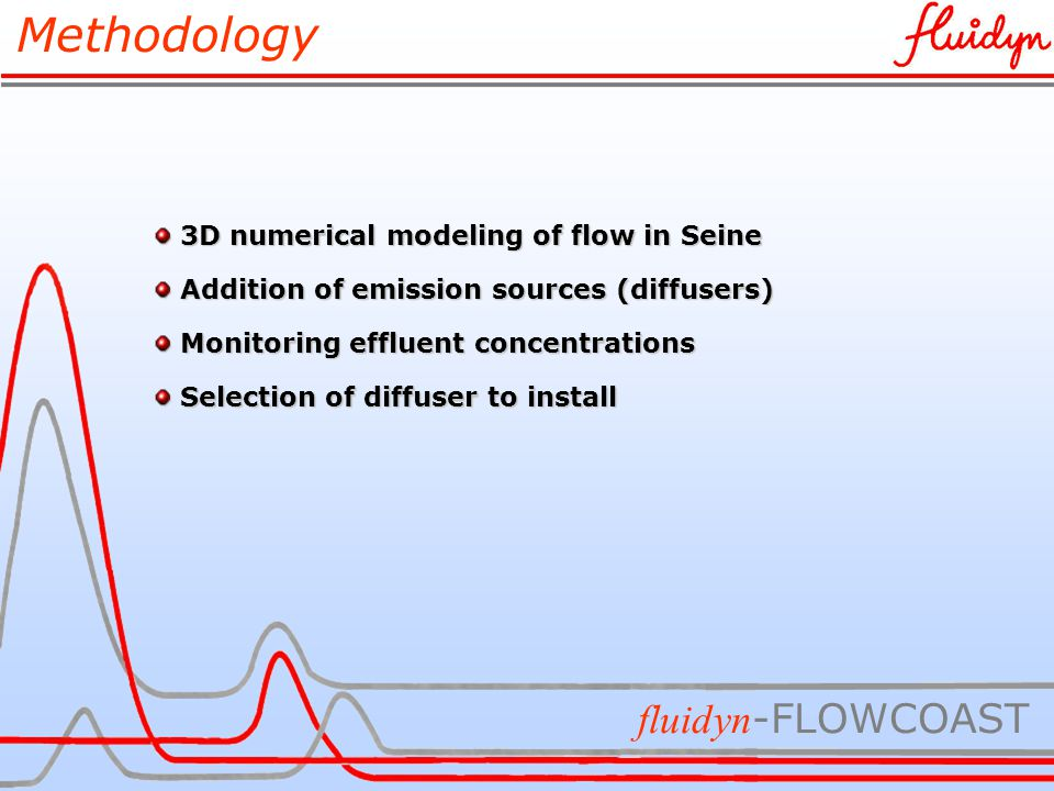 Methodology fluidyn -FLOWCOAST 3D numerical modeling of flow in Seine 3D numerical modeling of flow in Seine Addition of emission sources (diffusers) Addition of emission sources (diffusers) Monitoring effluent concentrations Monitoring effluent concentrations Selection of diffuser to install Selection of diffuser to install