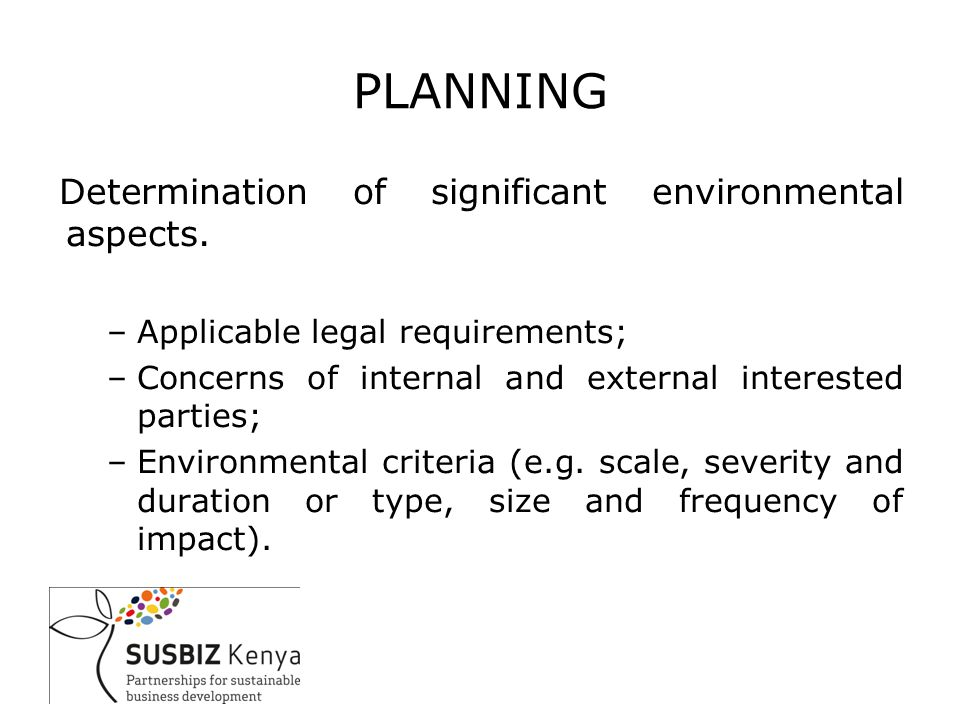 PLANNING Determination of significant environmental aspects.