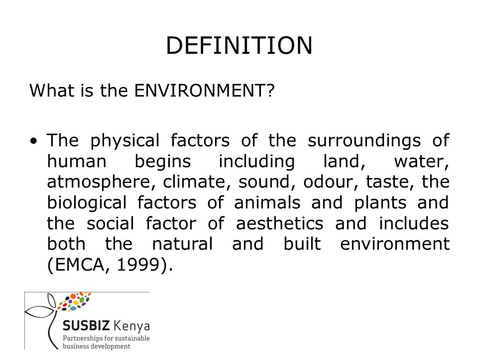 DEFINITIONS What is the ENVIRONMENT.