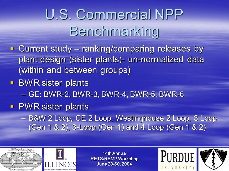 14th Annual RETS/REMP Workshop June 28-30, 2004 U.S. Commercial NPP Benchmarking  Current study – ranking/comparing releases by plant design (sister