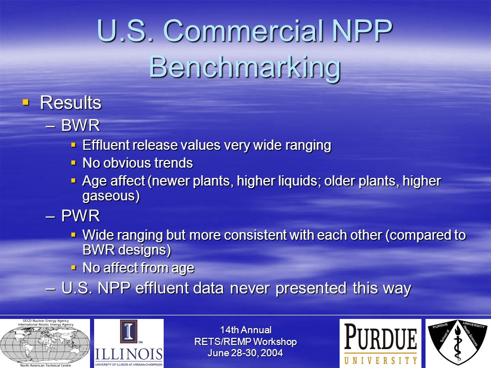 14th Annual RETS/REMP Workshop June 28-30, 2004 U.S. Commercial NPP Benchmarking  Results –BWR  Effluent release values very wide ranging  No obvio
