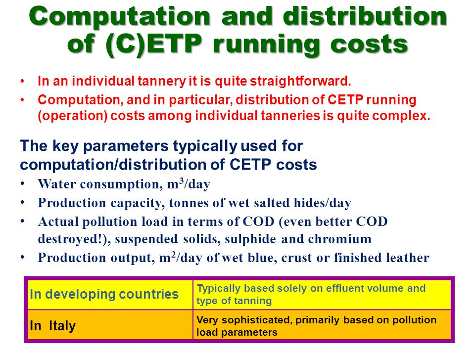Computation and distribution of (C)ETP running costs In an individual tannery it is quite straightforward.
