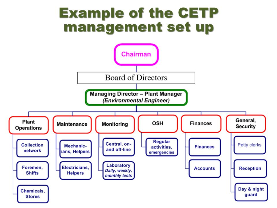 Example of the CETP management set up