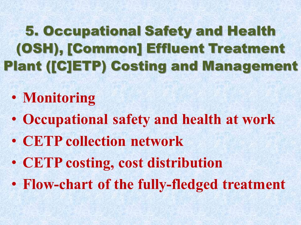 5. Occupational Safety and Health (OSH), [Common] Effluent Treatment Plant ([C]ETP) Costing and Management Monitoring Occupational safety and health a