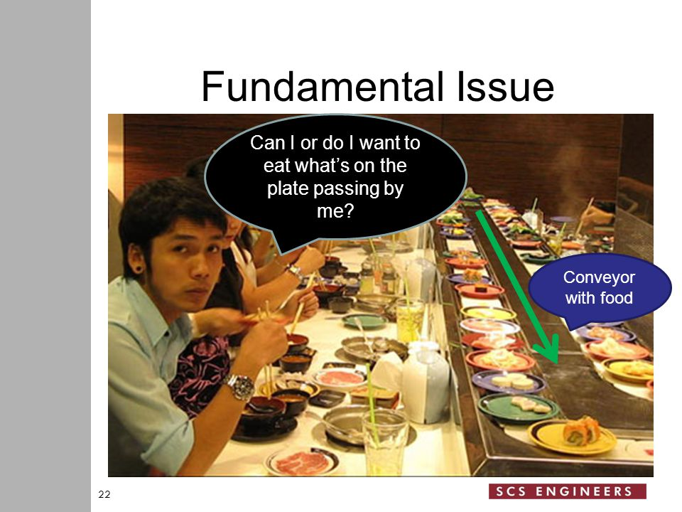 Fundamental Issue 22 Can I or do I want to eat what's on the plate passing by me.