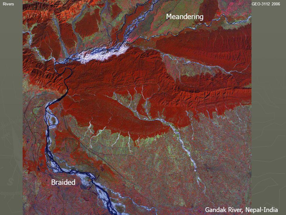 RiversGEO-3112 2006 Channel variability Gandak River, Nepal-India Braided Meandering