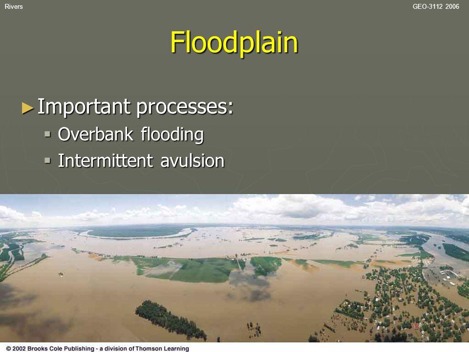 RiversGEO-3112 2006Floodplain ► Important processes:  Overbank flooding  Intermittent avulsion