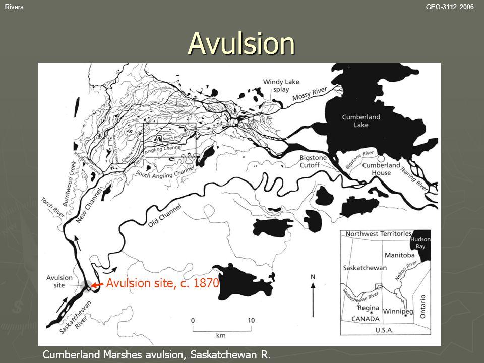 RiversGEO-3112 2006Avulsion Cumberland Marshes avulsion, Saskatchewan R. Avulsion site, c. 1870