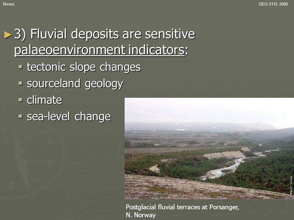 RiversGEO-3112 2006 Floodplain deposits ► Vertical accretion of overbank muds and organic sediment.