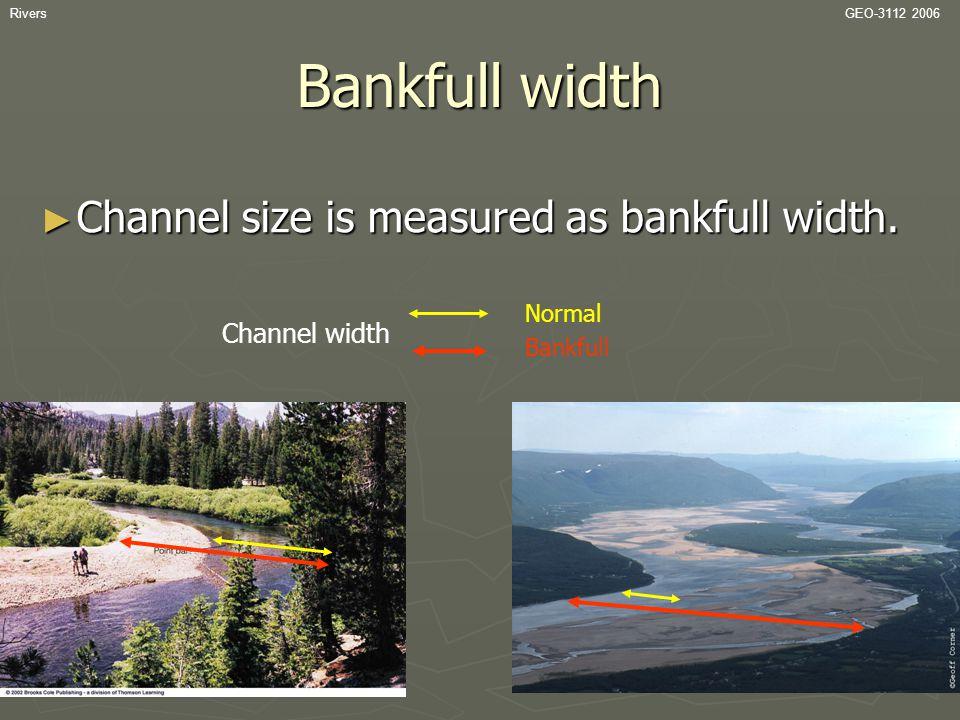 RiversGEO-3112 2006 Bankfull width ► Channel size is measured as bankfull width. Channel width Bankfull Normal