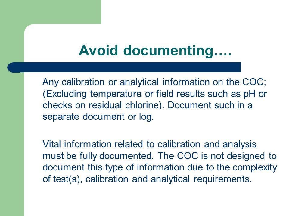 Avoid documenting….