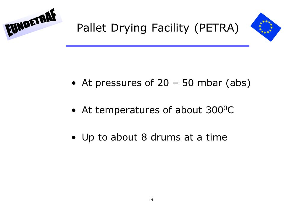 14 Pallet Drying Facility (PETRA) At pressures of 20 – 50 mbar (abs) At temperatures of about 300 0 C Up to about 8 drums at a time