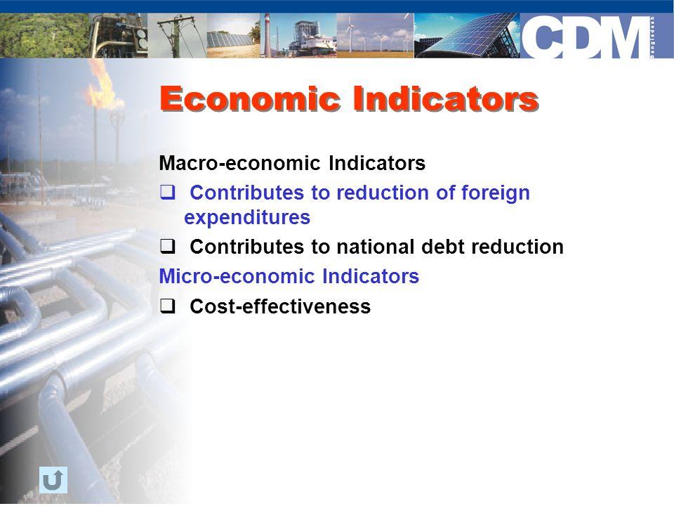 Economic Indicators Macro-economic Indicators  Contributes to reduction of foreign expenditures  Contributes to national debt reduction Micro-economic Indicators  Cost-effectiveness