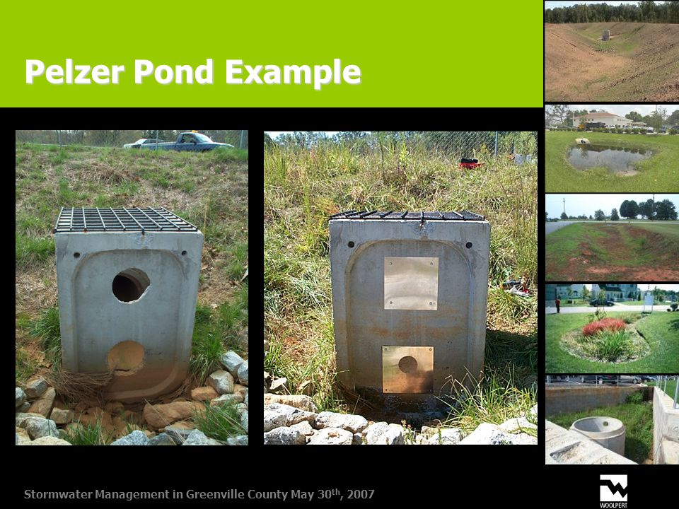 Stormwater Management in Greenville County May 30 th, 2007 Pelzer Pond Example