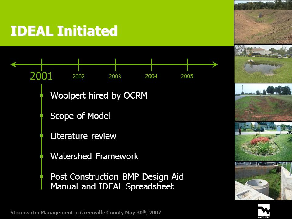 Stormwater Management in Greenville County May 30 th, 2007 IDEAL Initiated  Woolpert hired by OCRM  Scope of Model  Literature review  Watershed Framework  Post Construction BMP Design Aid Manual and IDEAL Spreadsheet 2001 20022003 20042005