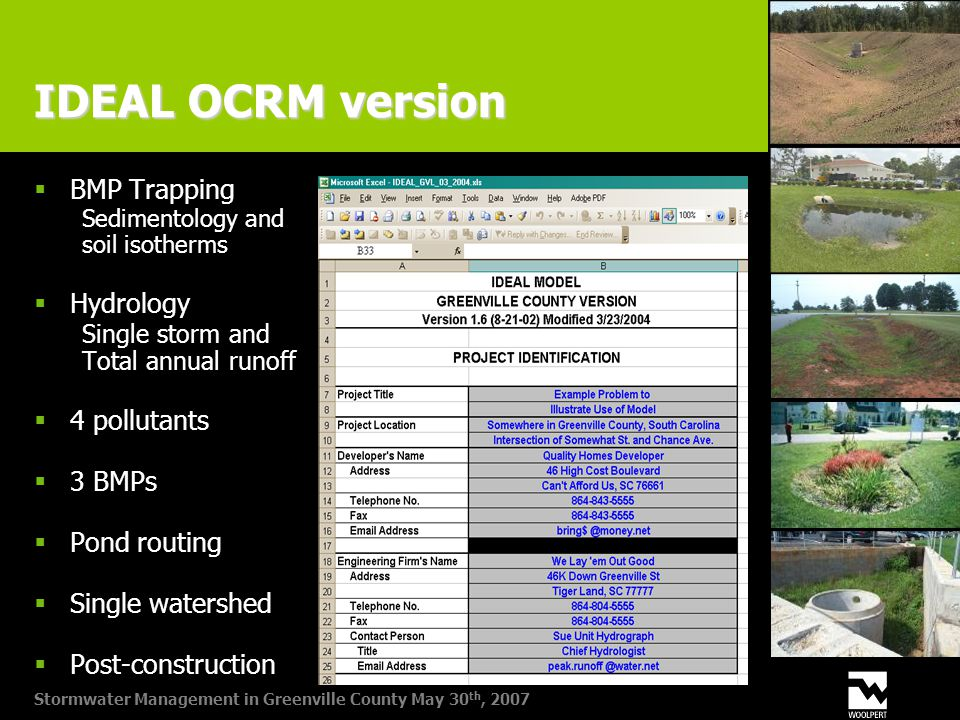 Stormwater Management in Greenville County May 30 th, 2007 IDEAL OCRM version  BMP Trapping Sedimentology and soil isotherms  Hydrology Single storm and Total annual runoff  4 pollutants  3 BMPs  Pond routing  Single watershed  Post-construction