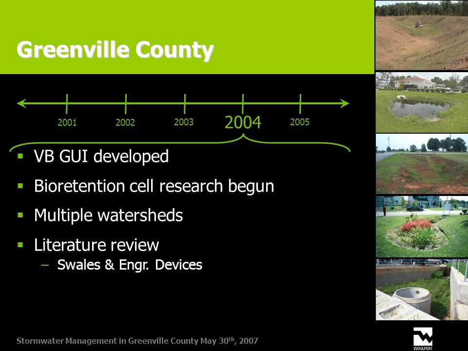 Stormwater Management in Greenville County May 30 th, 2007 Greenville County 2004 20012002 20032005  VB GUI developed  Bioretention cell research begun  Multiple watersheds  Literature review −Swales & Engr.