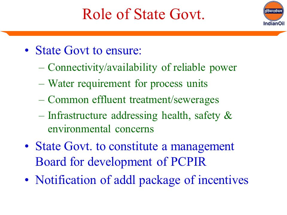 Role of State Govt.