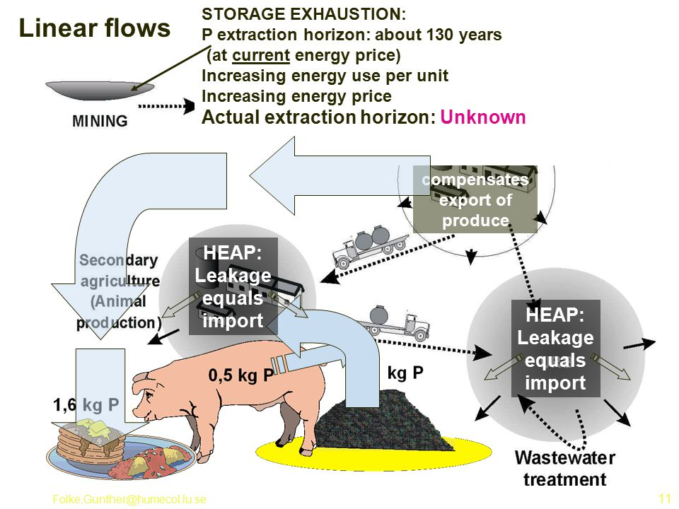 Folke.Gunther@humecol.lu.se 11 Linear flows Import of nutrients compensates export of produce HEAP: Leakage equals import STORAGE EXHAUSTION: P extraction horizon: about 130 years (at current energy price) Increasing energy use per unit Increasing energy price Actual extraction horizon: Unknown HEAP: Leakage equals import
