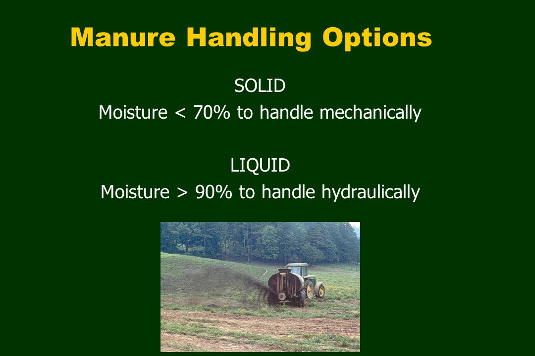 Manure as excreted cannot be effectively handled as a solid or liquid