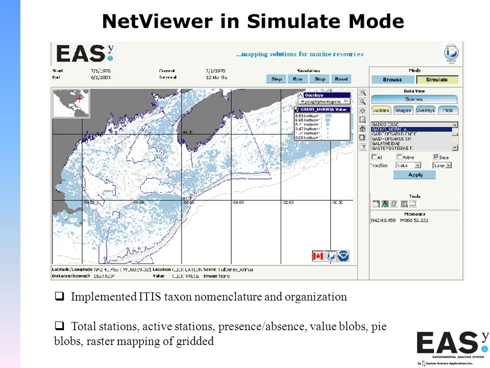 NetViewer in Simulate Mode  Implemented ITIS taxon nomenclature and organization  Total stations, active stations, presence/absence, value blobs, pie blobs, raster mapping of gridded