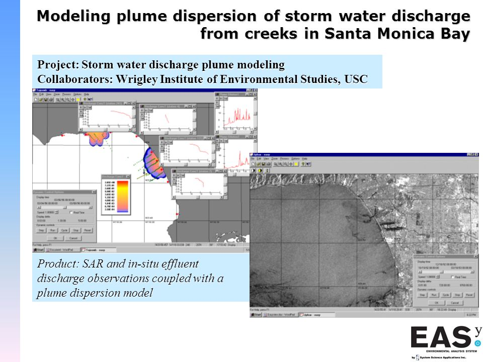 Modeling plume dispersion of storm water discharge from creeks in Santa Monica Bay Project: Storm water discharge plume modeling Collaborators: Wrigley Institute of Environmental Studies, USC Product: SAR and in-situ effluent discharge observations coupled with a plume dispersion model