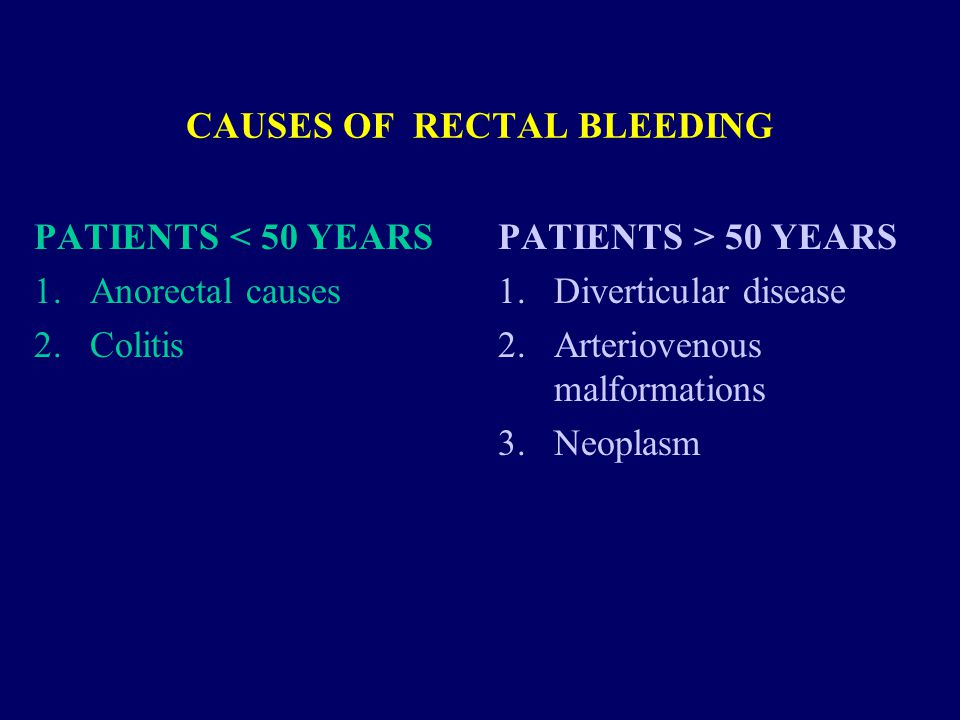 CAUSES OF RECTAL BLEEDING PATIENTS < 50 YEARS 1.Anorectal causes 2.Colitis PATIENTS > 50 YEARS 1.Diverticular disease 2.Arteriovenous malformations 3.