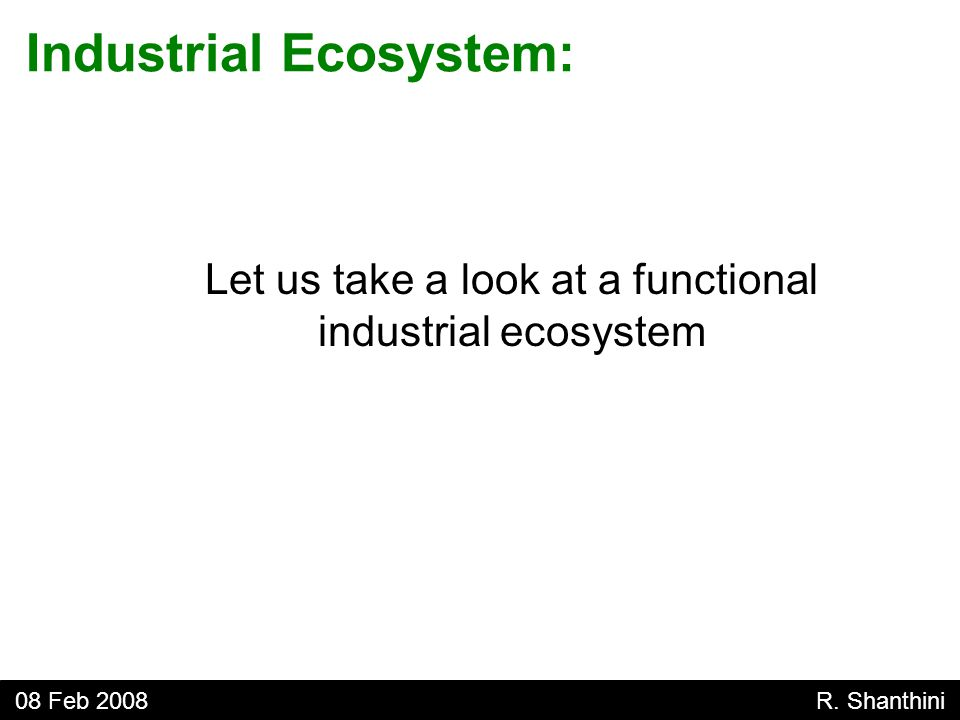 Let us take a look at a functional industrial ecosystem Industrial Ecosystem: 08 Feb 2008 R.