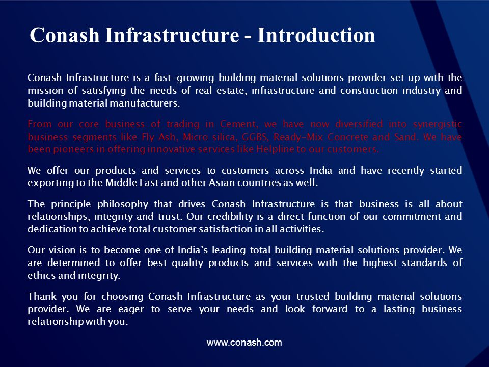 FLY ASH: THE MODERN POZZOLAN Enhances Concrete Performance Helps Protect Our Environment www.conash.com
