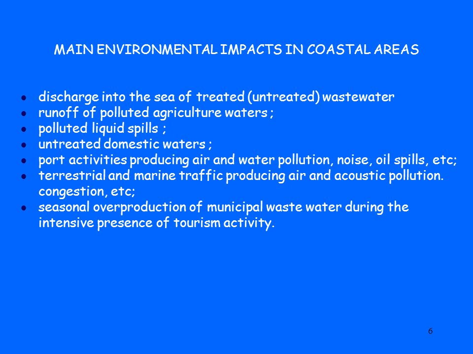 7 ENVIRONMENTAL VULNERABILITY OF COASTAL AREAS High level of biodiversity, especially in coastal wetlands; High concentration of many marine organisms in sea water close to the coast; Woods and especially pine woods close to the coast, continuously threatened by the ingression of salt water due to the lowering of the fresh water table; Subsidence due to water and gas extraction from underground: Limited availability of potable water for industrial, agricultural and civil uses;