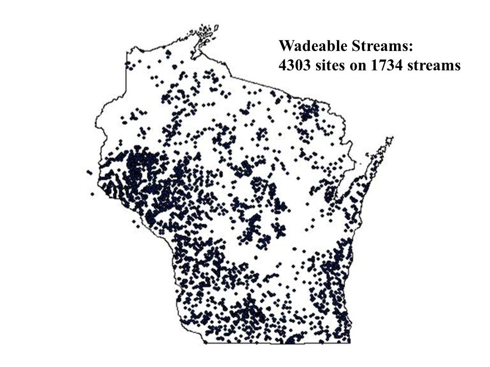 Wadeable Streams: 4303 sites on 1734 streams