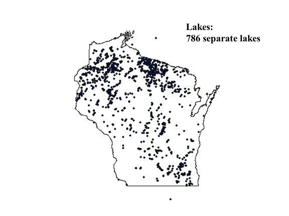 Lakes: 786 separate lakes
