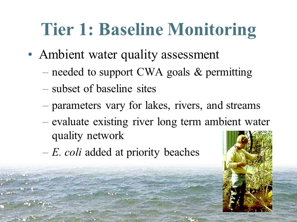 Tier 1: Baseline Monitoring Ambient water quality assessment –needed to support CWA goals & permitting –subset of baseline sites –parameters vary for lakes, rivers, and streams –evaluate existing river long term ambient water quality network –E.