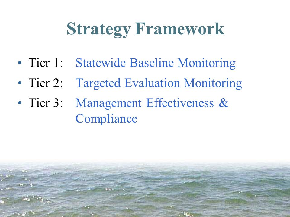 Strategy Framework Tier 1: Statewide Baseline Monitoring Tier 2:Targeted Evaluation Monitoring Tier 3:Management Effectiveness & Compliance