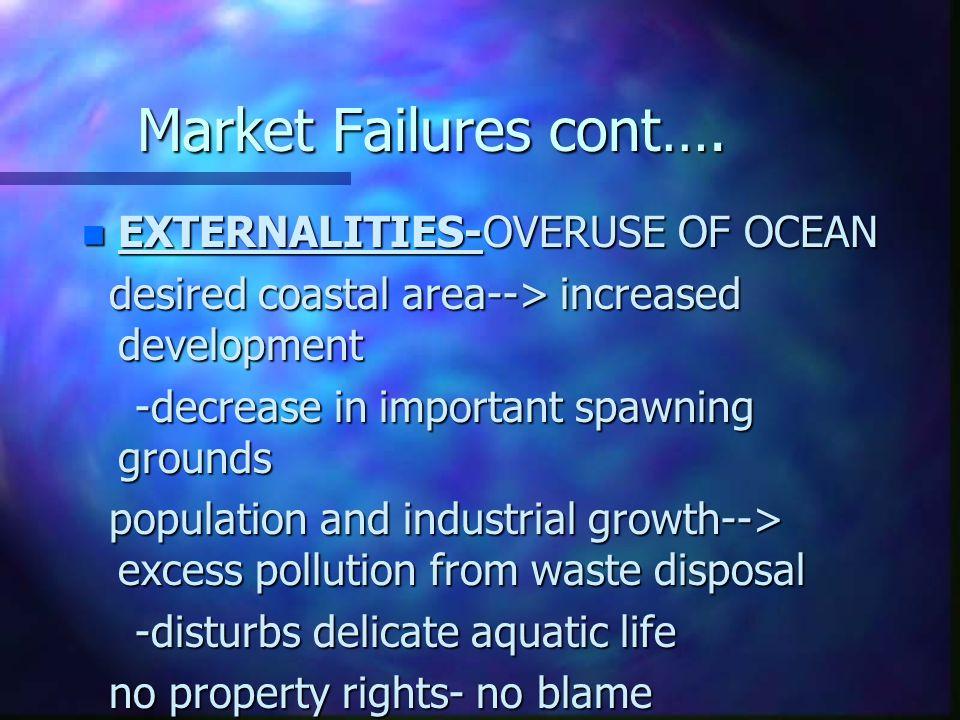 Market Failures cont…. n EXTERNALITIES-OVERUSE OF OCEAN desired coastal area--> increased development desired coastal area--> increased development -d