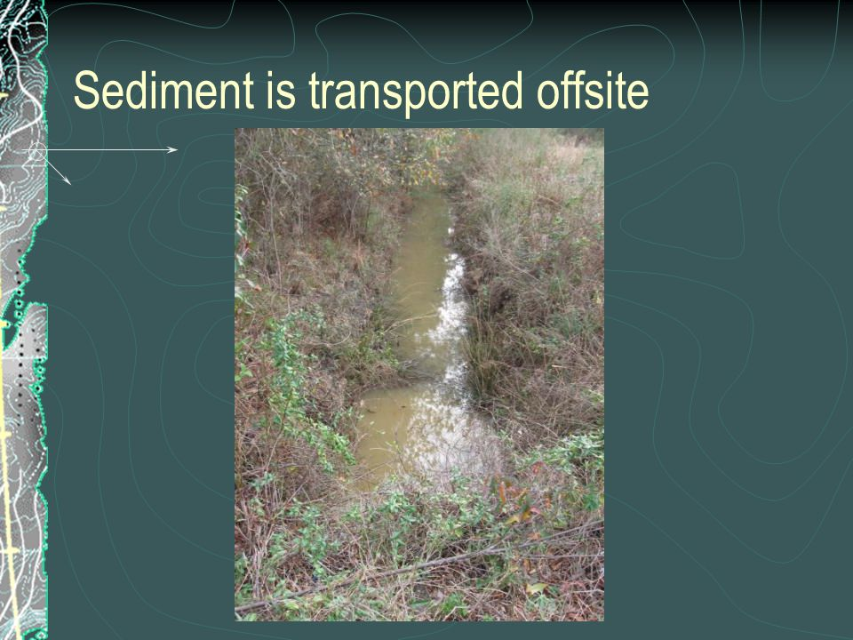 Sediment is transported offsite