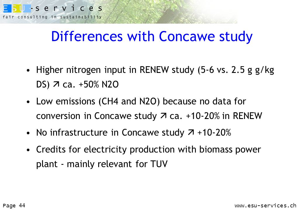www.esu-services.chPage 44 Differences with Concawe study Higher nitrogen input in RENEW study (5-6 vs.